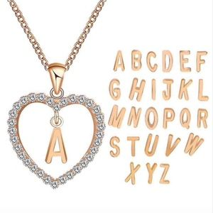 Jewelry - Gold Letter A Initial Pave Crystal Heart Necklace